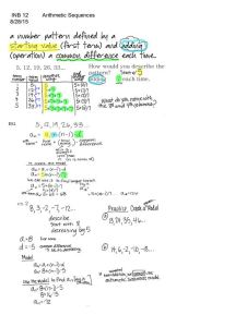 INB12 arithmetic sequences